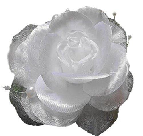 Haarschmuck Kopfschmuck Haarblume Haargummi Fascinator Feder Perlen Haarband Blumen mit Gummiband und Sicherheitsnadeln (weiss)