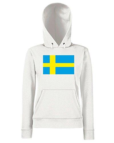 T-Shirtshock - Sweats a capuche Femme TM0247 Swedish flag flag Blanc