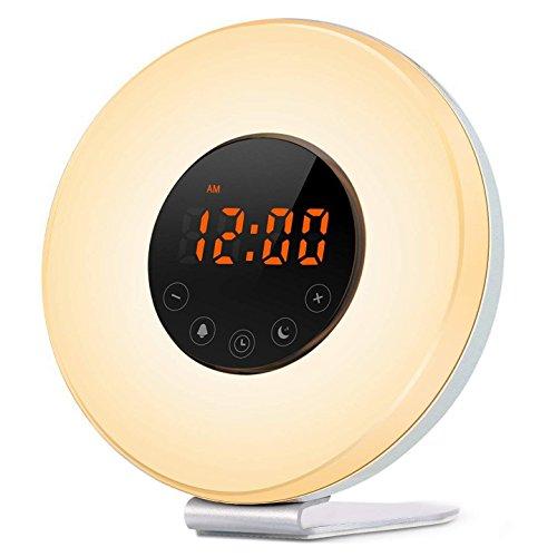 STOGA Luz Despertador, Wake Up Light Despertador con Luz Que Simula el Amanecer, Lámpara de Noche con Función Puesta del Sol, Sonidos de la Naturaleza, Radio de FM, 7 Colores, Control del Tacto