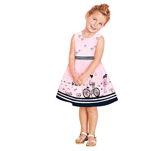 n, Toddler Mädchen Kleid Rosa Ärmellos Sommerkleid Party Prinzessin Dress Casual T-Shirt Kleid Frühlings Herbst Cocktailkleid (4-5Jahre, Rose) ()