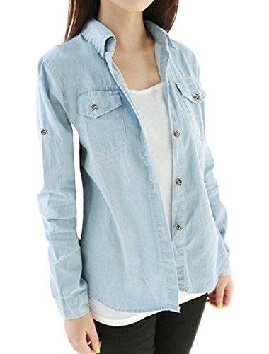 allegra-k-femmes-manches-col-roule-point-western-denim-shirt