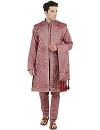 Pink Kurta Pijama Sherwani se robó 4 Piezas Set Sherwani Mens Wear Casual Suit Party Dress -m