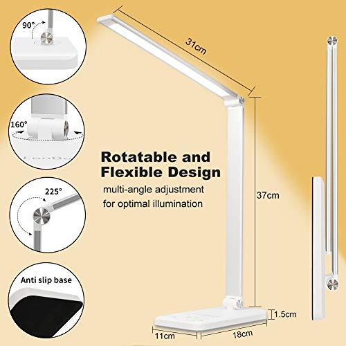 41IgvxYKWjL - Lámpara Escritorio LED,5*10 Modos de Brillo con 52 SMD Leds Lámparas Mesa USB Recargable,2000mAh Plegable Flexo de Escritorio Control Táctil,Protege a ojos