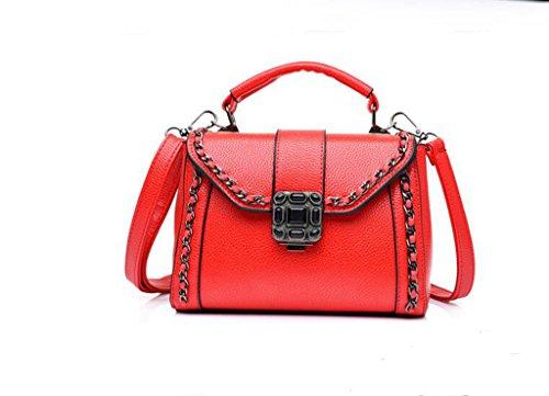 Versione Ms. Chao coreana della nuova borsa, prugna bloccare mini spalla, messaggero, catena zaino red