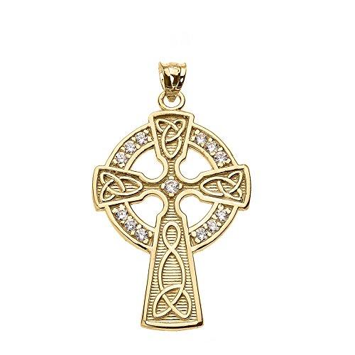 14K Giallo Oro Diamante Accento Ciondolo Croce (Oro Celtica Claddagh Croce)