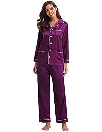 Aibrou Kimono Pijamas Mujer Saten Seda con 5 Bolsillos,Suave,Cómodo,Sedoso y