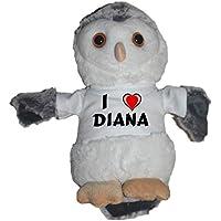 Shopzeus Búho de peluche con Amo Diana en la camiseta (nombre de pila/apellido