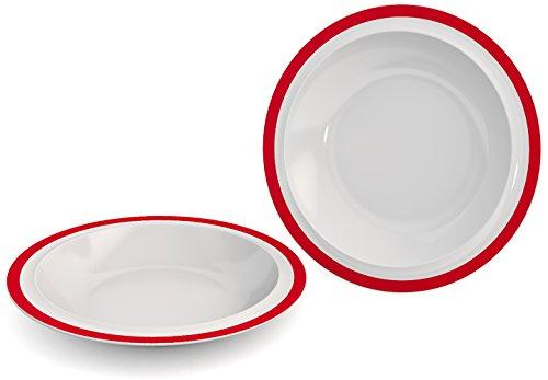 Ornamin Lot de 2 Assiettes Creuses Ø 22 cm Bord Rouge Mélamine (Modèle 505) / assiettes à dîner, assiettes à soupe, assiettes à pâtes