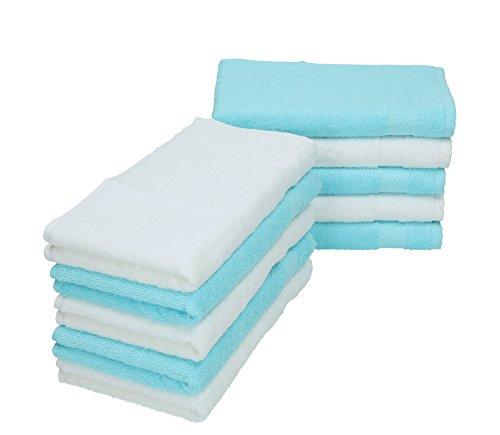 BETZ Lot de 10 serviettes débarbouillettes PALERMO taille 30x30 cm couleurs blanc & turquoise