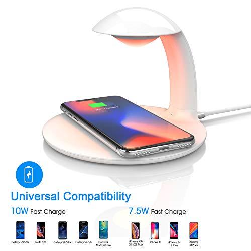 LED Nachttischlampe Dimmbar mit Kabelloses Ladegerät, Touch Control Schreibtischlampe, RGB Farbwechsel Stimmungslicht, 10W Qi Induktive Ladestation für Samsung, 7.5W Fast Wireless Charger für iPhone