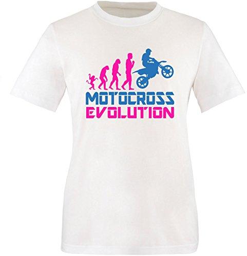 EZYshirt® Motorcross Evolution Herren Rundhals T-Shirt Weiss/Pink/Blau