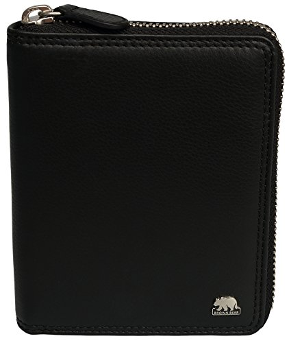 Brown Bear Geldbörse Leder schwarz Reißverschluss 8009 bk (Zip Geldbörse Leder)