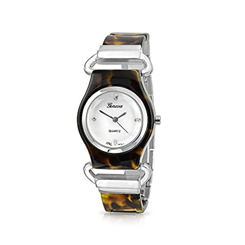 Bling Jewelry L'Écaille de tortue simulé résine Cadran Nacre montre de mode arrière en acier