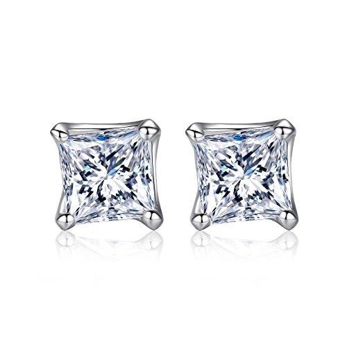 Haixin S925 Pure Tremella Nagel aaa Quadrat 5 * 5 Zirkon Anti-Allergie-Ohrringe (Quadrat Diamant-ohrringe)