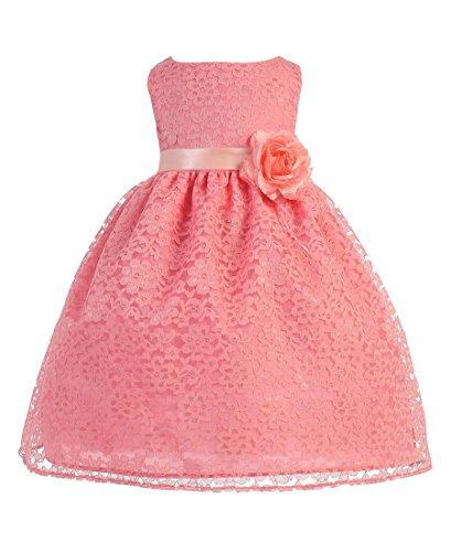 BIMARO Baby Mädchen Babykleid Nelly koralle Kleid Taufkleid Spitzenkleid Blumen Taufe Hochzeit...