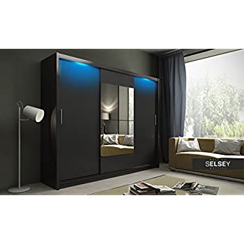 keir schiebet r kleiderschrank mit gro em spiegel und led beleuchtung schwarz matt. Black Bedroom Furniture Sets. Home Design Ideas