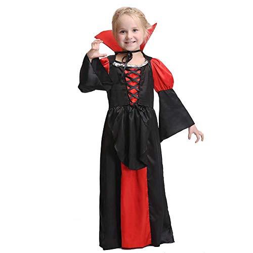 GLXQIJ Kinder Jungen Mädchen Spooky Bloodthirsty Vampire Deluxe Halloween Kostüm Outfit,Black,M (Deluxe Vampir Kind Kostüm)