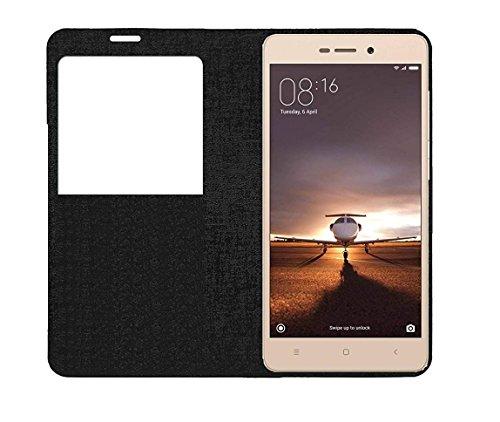 S-Hardline Smart S-View Flip Cover for Mi Redmi 3s (Black)