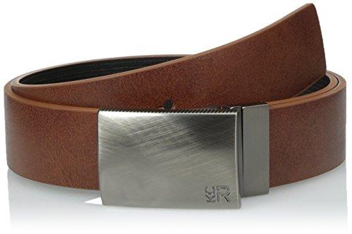 Reversible Plaque Belt (Kenneth Cole REACTION Men's 1 1/4 in. Reversible Plaque Belt With Textured Strap,Tan/Black,34)