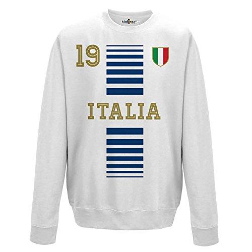 Felpa Girocollo Uomo Nazionale Sportiva Italia 19 Calcio Europa Tricolore 2 KiarenzaFD Streetwear Arctic White