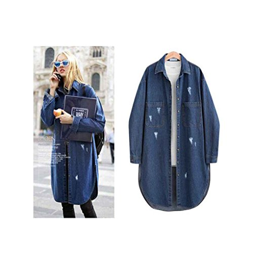 Babysbreath Frauen-Denim-Jacke gewaschenes blaues vorderes Knopf unten zerrissene beiläufige Taschen-Lange Hülse Plus Größen-Langer Jeans-Mantel Dunkelblau 4XL (Unten Mantel Lange)
