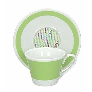 PROGETTO TOGNANA AD010104204 6 TAZZINE DA CAFFE CON PIATTINO CC 100 ART MANIA GREEN STICKS
