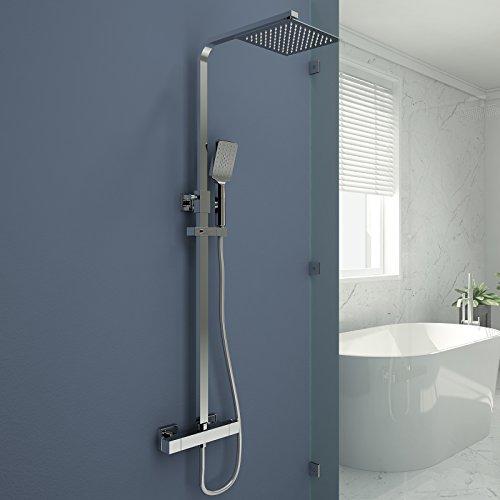 Duschsystem mit Thermostat Duscharmatur Duschset mit Rainshower Handbrause mit 3-Funktion Duschkopf Regendusche Dusche Armatur und Duschablage Bedewanne Brausethermostat