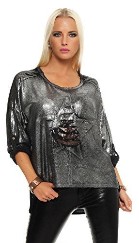 IKONA21 - Fashion Italy Damen Shirt Pulli Bluse Tunika Longshirt Onesize S M L XL 36 38 40 42 44 500 378 Schwarz mit Silber Metallic