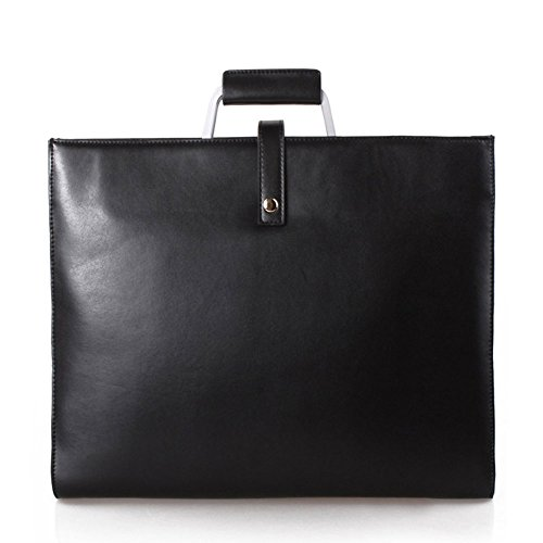 """5 ALL Fashion Aktentasche aus echtem Leder Damen für 14"""" Laptop im Berufsalltag Shopper Hnadtasche Schultertasche (Blau) Schwarz"""