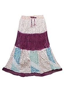 a287c34cdd Indiatrendzs Women Skirts Cotton Blend Beige Purple Bohemian Summer Long  Skirt