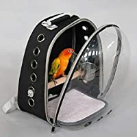 Ocamo Transparent Space Capsule Shoulders Bag with Breathable Holes for Pet Parrot Myna Outdoor Use