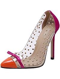 Agodor Damen Spitze High Heels Pumps mit Nieten und Schleife Stiletto Elegant Party Transparent Schuhe