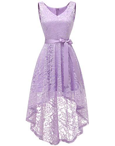 Berylove BLP7018 Damen Cocktailkleid Spitzen V Ausschnitt Ärmellos Elegant Hi-Lo Partykleider Lavendel XS