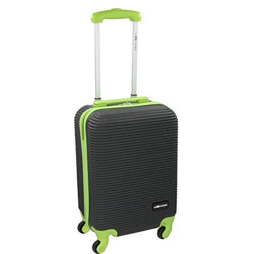 Handgepäck Trolley - 31 Liter von JEMIDI mit 4 Rollen in tollen Trendfarben!!! Boardcase Reise Koffer Hartschale Cabin Bordgepäck Bag Bord (Schwarz / Lila) Schwarz / Grün