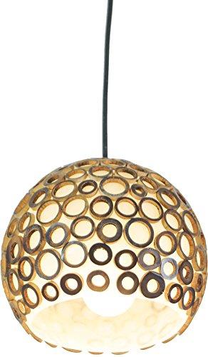 Guru-Shop Pendellampe/Pendelleuchte Augusta Bamboo,handgemacht in Bali, Fiberglas, Bambus, 16x18x18 cm, Resinlights, Fiberglas Deckenleuchten
