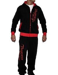 Tisey® Herren Jogginganzug Hoodie + Fitness-Hose Kapuze Training-Anzug Fleecepant JOG-10