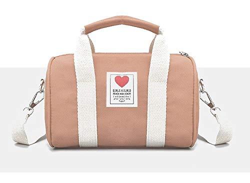 Handtasche Leinwand Eimer Schultertasche Crossbody Tasche für Sport-Reisen Wandern,Rosa ()