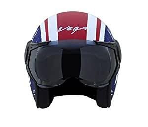 Vega Jet Captain Open Face Helmet (Dull Red and Blue, L)
