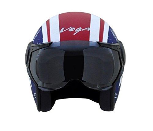 Vega Jet Captain Open Face Helmet (Dull Red and Blue, L)