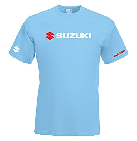 Juko Suzuki GSX Racing T Shirt 1341 Motorsport Motorcycle. Sky Blue, Medium