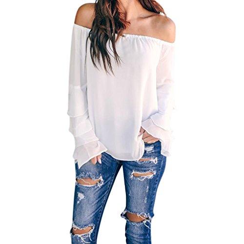 OSYARD Damen Herbst Sommer Beiläufig Off-Shoulder T-Shirt Chiffon Langarm Jeansbluse,mit Volant Bluse