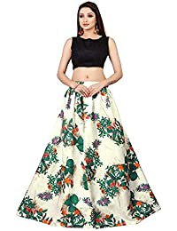 Rudra zone Women's Satin Silk Semi-stitched Lehenga (RZF009, Green, Free Size)