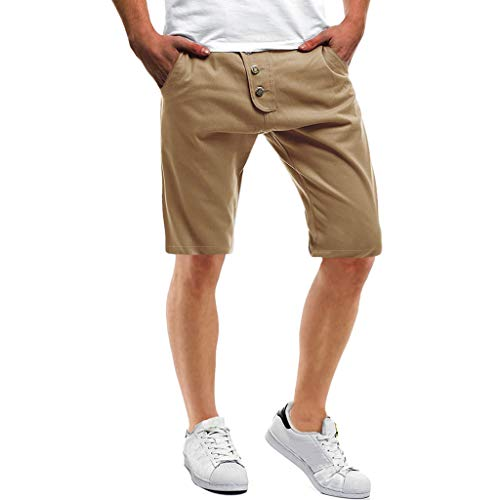 Mymyguoe Herren Cargo Shorts Fynn Kurze Hose Vintage Bermuda Herren Cargo Shorts Lose Fit Kurz Hose Sommer Herren Cargo Hosen Kurz Freizeithose Chino Slim Stoffhose ArbeitArbeit [Cachi,L] (Set Capri Belle)