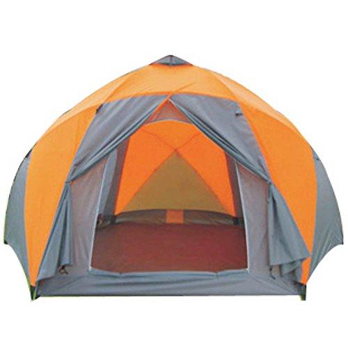 Campingzelt,8 ~ 10-personen-zelt Outdoor Mit großen Öffnungen Campingausrüstung Double-layer Folding Outdoor zelten Kuppelzelte -orange (Alle Wetter Aluminium-rahmen)