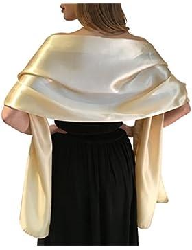 Impresionante sedoso raso satin abrigo de la boda Wrap nupcial de la estola del mantón bufanda Pashmina Bodas...