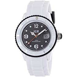 Ice-Watch Unisex Quartz Watch with Black Dial Analogue Display and White Silicone Strap SI.WK.U.S.12