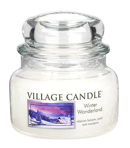 Village Candle 106311357 Winter Wonderland Pot de Verre, Blanc, 10,2 x 10,1 x 10,1 cm