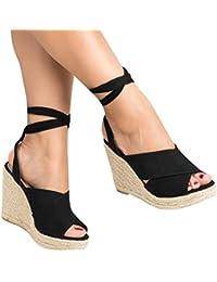 Minetom Mujer Sandalias Dulce Alpargatas Chancletas De Tacón Alto Plataforma Cuña Playa Zapatos de Verano Moda