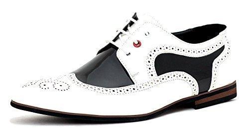 Hommes Robe Chaussures Mariage élégant Habillée Bureau à Lacets Travail taille UK Blanc/noir