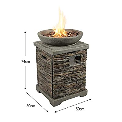 Peaktop Square 29inch Fire Pit Stone Grey from Teamson